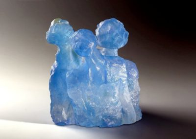 Trois bustes bleus - Pâte de cristal